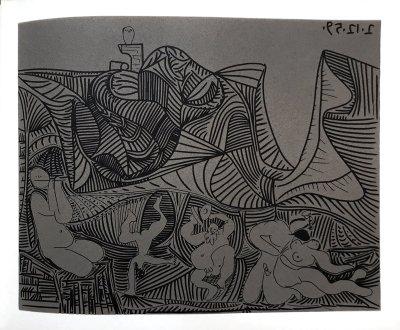 Pablo Picasso 35, Linogravures, Bacchanale-au-hibou, Editions Cercle d'art 1962