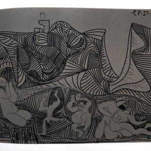Picasso Linogravures 35, Bacchanale au hibou 1962