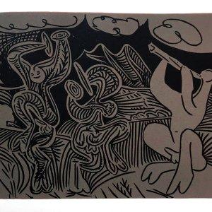 1962 Pablo Picasso Linogravures 36, Danseuses et Musicien