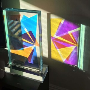 """Lucite Acrylic Sculpture, Tower color Composition 19""""H Signed"""