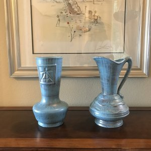 """Pair of Blue Pottery Vases, 24kt Gold accents 12""""H"""