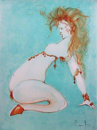 Leonor Fini, Pencil Signed Original Lithograph 1972, Pseudo Sonnet avec un intermede