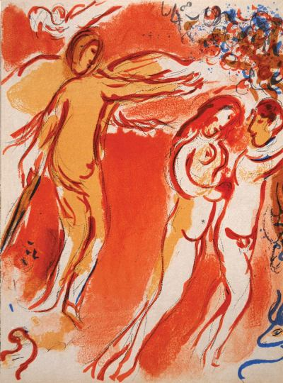 Marc Chagall, Original Lithograph 1960, Drawings for the Bible, Adam and Eve are banished from Paradise