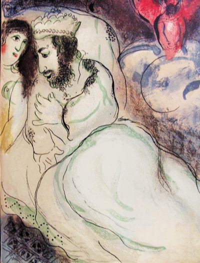 Marc Chagall, Original Lithograph 1960, Drawings for the Bible, Sarah and Abimelech