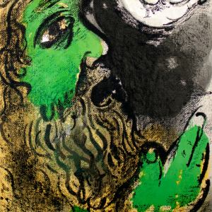 Marc Chagall, Original Lithograph 1960, Drawings for the Bible, Job Praying