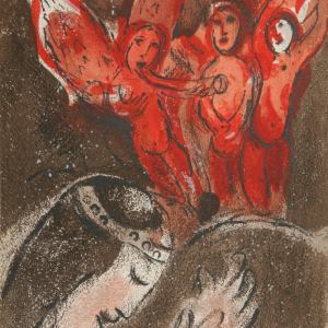 Chagall, Original Lithograph Sarah and the Angels, Bible 1960