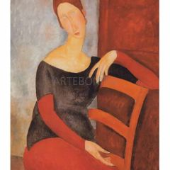 Amedeo Modigliani  Hebuterne on red chair,  L,E. Giclee Numbered, Impressionist, Modern