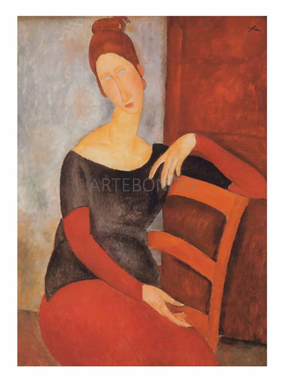 Amedeo Modigliani, Hebuterne on red chair, Giclee Limited Edition