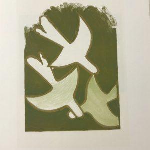 """Braque Lithograph """"Les oiseaux blancs"""" 1963 Mourlot"""