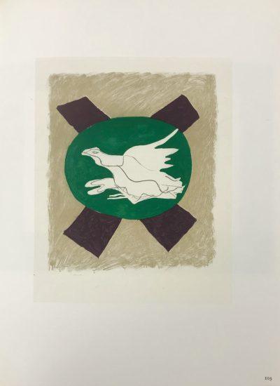 """Braque Lithograph """"Oiseau sur fond de x"""" 1963 Mourlot"""