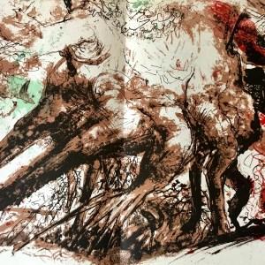 "Pierre Parsus Original Lithograph, 1974 ""La grande chaine"""