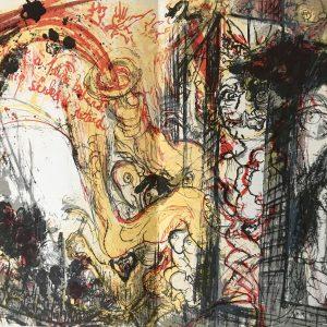 """Pierre Parsus Original Lithograph """"le moyenageux"""""""