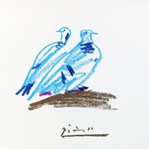 Pablo Picasso Lithograph 57, Verwidwete Couple Dove