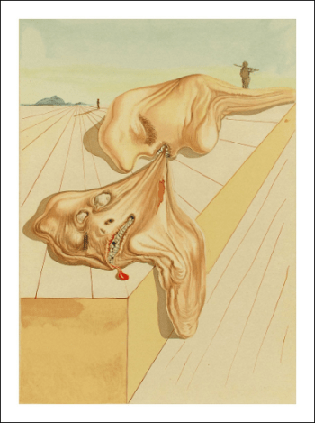 Salvador Dali Woodcut, Men who eat each other-Hell 30