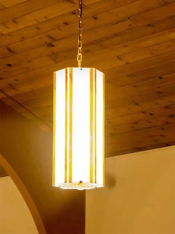 Hexagon Mica Pendant Installed and Lit