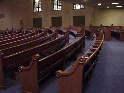 Temple Israel, Minneapolis, radius theater seats on bowl floor - back MVC-015F