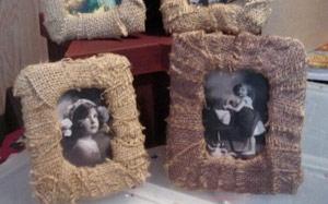 Portarretratos Decorados con Trozos de Arpillera