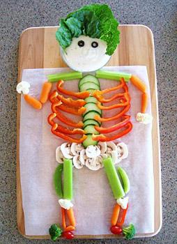 esqueleto con verduras