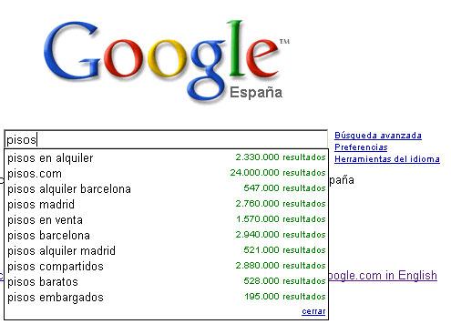 Busqueda predictiva de Google