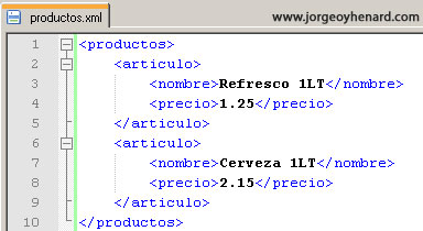 Ejemplo productos.xml