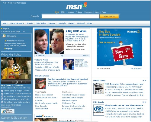 Diseño antiguo de MSN.com
