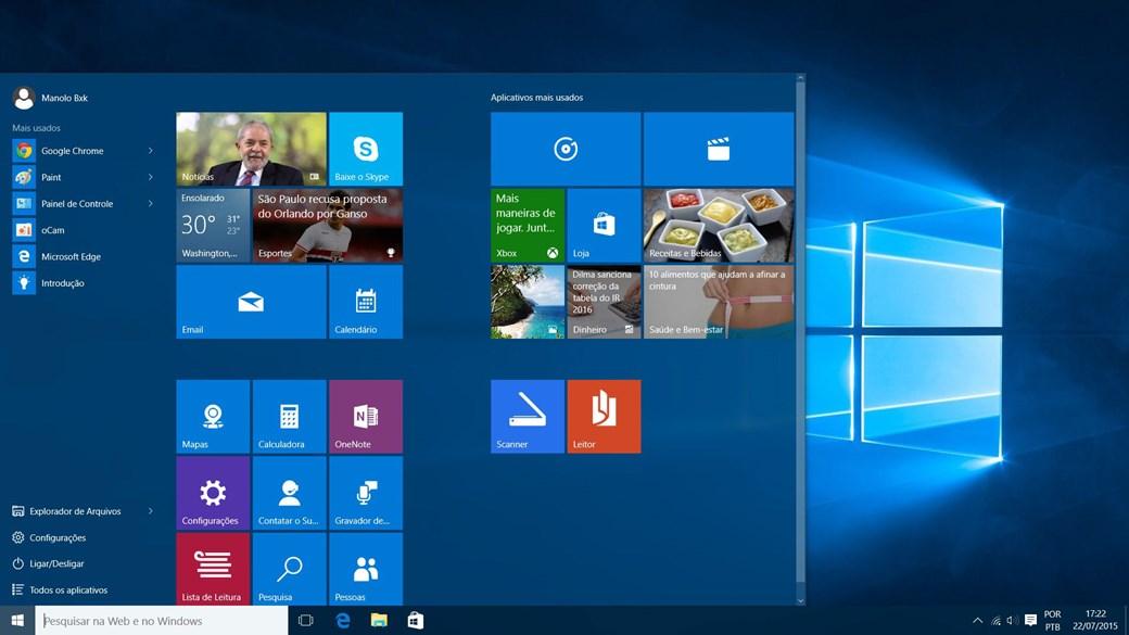 Botão iniciar do windows 10 não abre