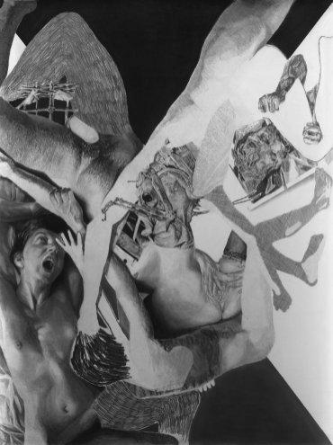 02-JEROME-ZONDER_LA-CHUTE_2013_mine-de-plomb-et-fusain-sur-papier_200x150_Courtesy-Galerie-Eva-Hober