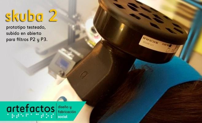 Prototipo skuba 2 para uso de filtros P2 y P3 industriales realizado en PET-G