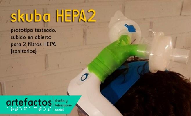 Prototipo skuba HEPA2 para uso de dos filtros HEPA (empleados en respiradores sanitarios).