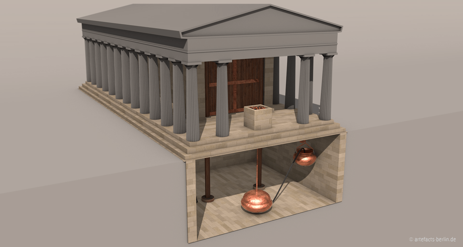 3D Rendering of an animation of automated temple doors
