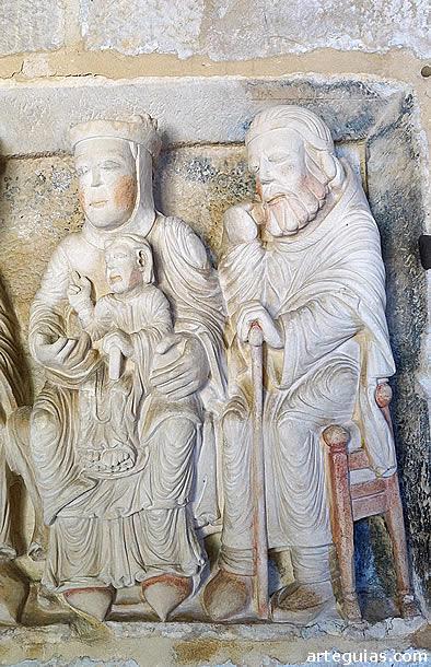 Detalle del relieve de la Epifanía: La Virgen y San José