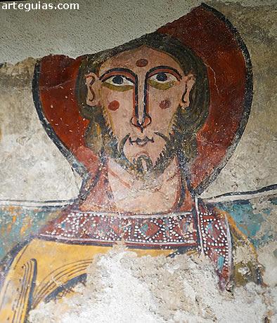 Detalle de los frescos románicos de la iglesia de Unha