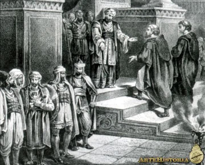 Abd al-Rahman III recibiendo una embajada cristiana
