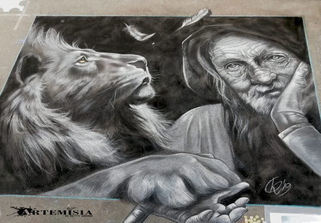 """Do not fear what you do not know"" St. Jerome and the Lion. Chalks on asphalt 3x2.5 mt"