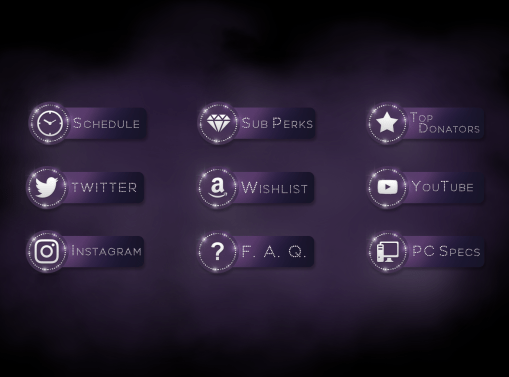 User Interface Design Twitch Profile Bio Buttons for Anniefuchsia