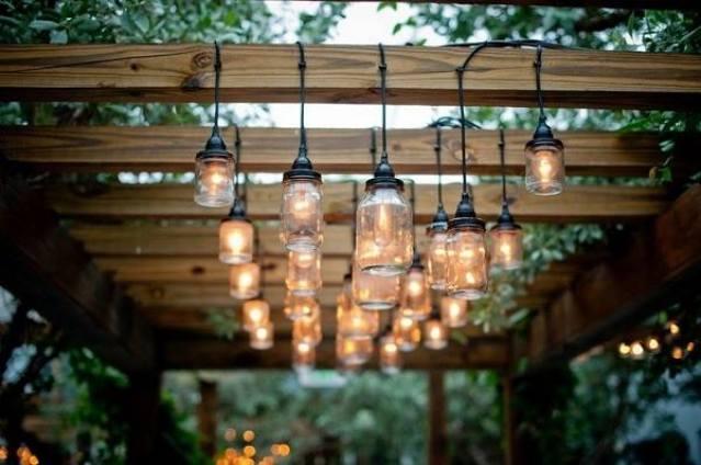 luminária com potes de vidro 3