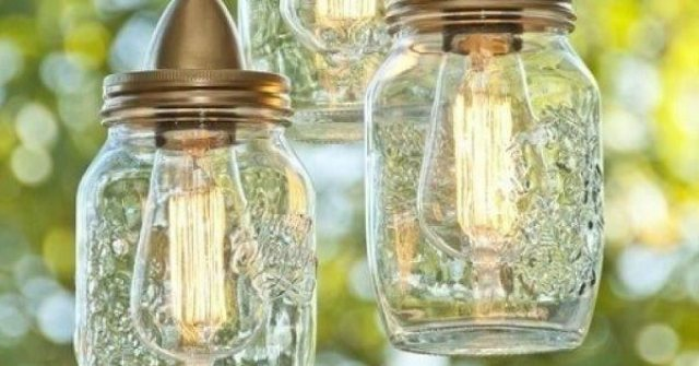 luminária com potes