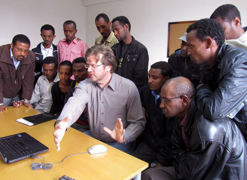 dave lafontaine teaches video editing to tv journalists in ethiopia