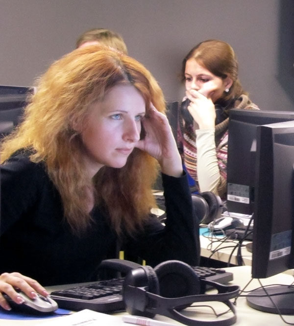 ukrainian student concentrates on the screen