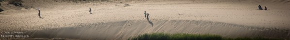 people walk across sand dunes in a vast desert