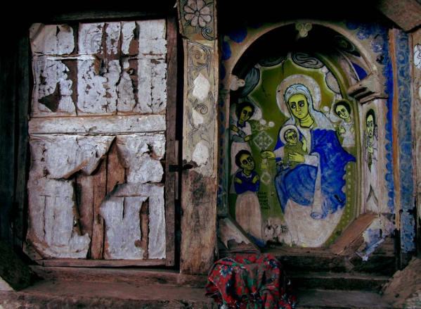 weathered artwork in bahir dar monastery