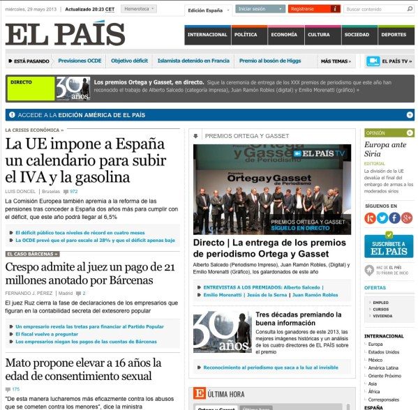 El Pais Spain front page