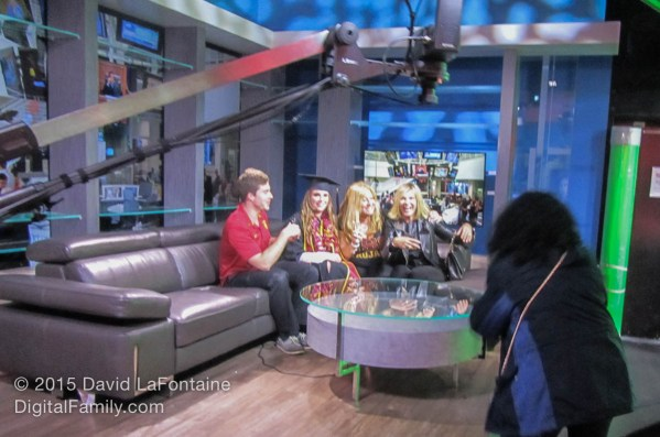 The new state-of-the-art broadcast facilities were the envy of many seasoned network-level professionals that made the pilgrimage to Annenberg this year. These students are having a blast on the couches of the big TV set (complete with greenscreen off to the right).
