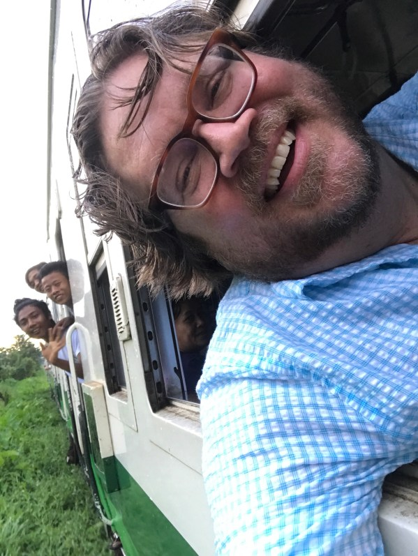 dave lafontaine on a train in myanmar