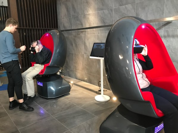 janine and robin spin around in vr chairs at technicolor labs