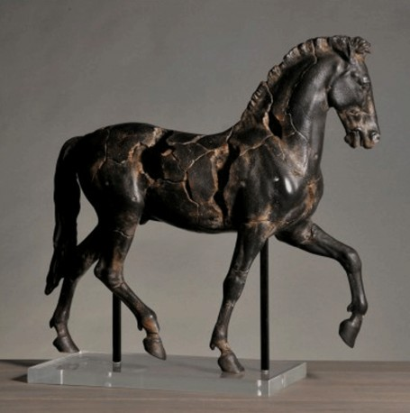 this horse statue fragment of an original bronze statue created by monti in the early 20th century