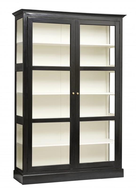 grande bibliotheque vitrine maggie de 212cm de hauteur realisee en bois d orme noir