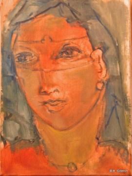 H15 (réservé) - Portrait au masque (30 x 20 cm)