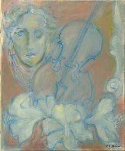 H32 (réservé) Composition au violon bleu (46 x 38 cm)