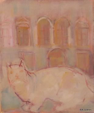 H48 - Chat blanc en son palais (41 x 33 cm)